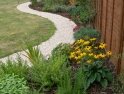 Stone path leading to family pool